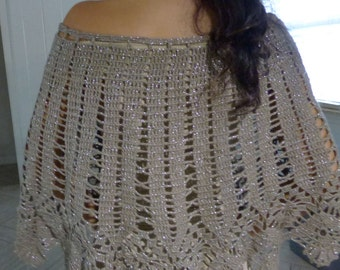 Elegant Women's Metallic Handmade Crochet Poncho Top Made to Order