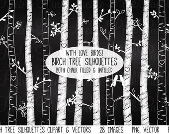 Chalkboard Birch Tree Silhouettes Clipart Clip Art, Chalk Autumn Aspen Tree Clipart Clip Art - Commercial and Personal Use