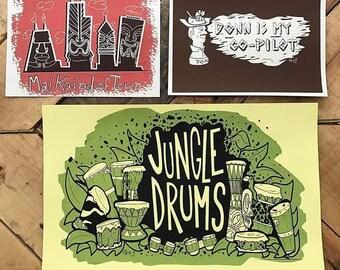 3 PRINT BUNDLE! Three Limited Edition Tiki Art Prints - Don the Beachcomber, Chicago Skyline, & Jungle Drums!