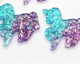 Glitter Unicorns Stars Plastic Kawaii Decoden Kitsch Flatbacks Cabochons - Purple Blue  GU51118