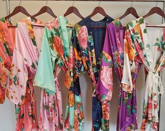 bridesmaid robes, robes for bridesmaids, bridal party robes, bridesmaid gift, bridesmaid robe, floral robe, bridesmaids robes, wedding robes
