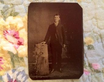 Vintage Tin Type Photo - Young Man