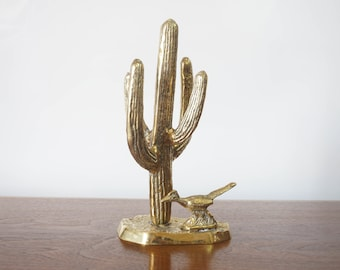 Brass Cactus & Roadrunner, Vintage Cactus Figurine, Saguaro Cactus, Desert Decor, Brass Cacti, Desert Plants Animals, Birds, Southwest Decor