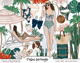 Tropical Palm Springs Fashion Girl Clip Art Watercolor Clipart PNG Bikini Flowers Poolside Cactus Leaf Hand Drawn Planner Sticker Graphics
