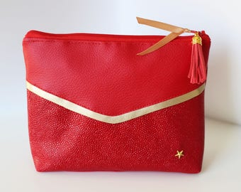 Red and gold faux leather pouch