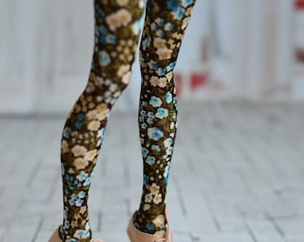 Tights with blue and beige flowers for doll 1/4 slim msd minifee
