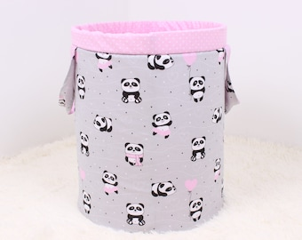 Basket for toys with pandas Toy storage Laundry basket Nursery storage Baby shower gift Storage basket Fabric basket Storage Bin Handmade