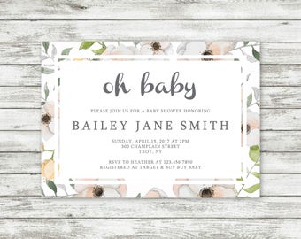 Floral Baby Shower Invite, Personalized