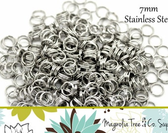 Stainless steel split rings, 150 pcs, 7mm split ring, double loop connector, jewelry finding, jump ring (SR70-150)