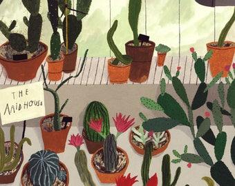 A3 Cacti House Botanical Illustration Print