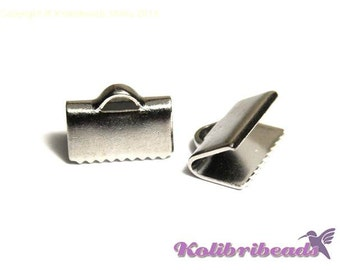 10x Platinum (Silver) Brass Ribbon Crimp Ends 10 mm - Crimp Terminals for Flat Cord or Macrame