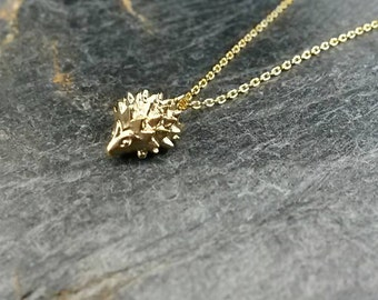 Hedgehog Necklace/Hedgehog Pendant/Tiny Hedgehog/Hedgehog Jewellery/Hedgehog Jewelry/Hedgehogs/Animal/Animal Jewellery/Garden/16k gold plate