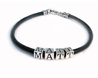 Name Wristband in Leather and Silver - Matt Design