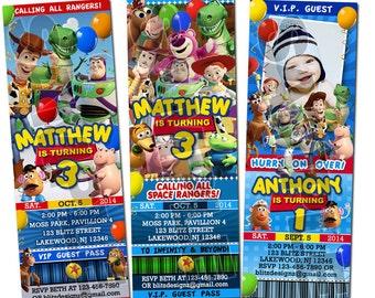 Toy Story 1, 2 & 3 Birthday Party Photo Ticket Invitations - Printable