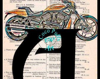 Letter A with a Motorcycle Art Beautifully Upcycled Vintage Dictionary Page Book Art Print, Motorcycle Art Print