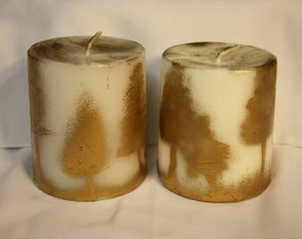 Rustic Gold Painted Candles