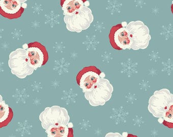 Christmas Fabric Vintage Santa Faces Blue Lewis & Irene Cotton Fabric