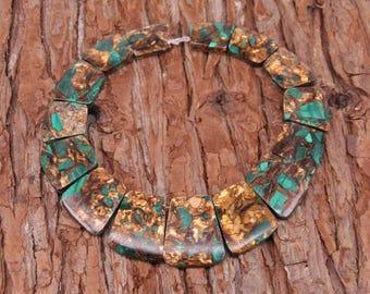 Smooth Brown&Dark Green Impression Jasper Stones Focal Slab Beads,Graduated Emperor Stone Trapezoid Statement Necklace