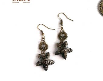 Steampunk Starfish Earrings. Steampunk Jewelry. Sea Star. Starfish Earrings. Mechanical Starfish. Bronze. Victorian style. Industrial.