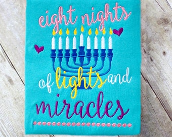 Hanukkah shirt for girls, eight nights of lights and miracles, menorah shirt for girls, celebrate Chanukkah shirt