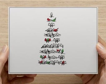 Christmas Cards. Personally designed Christmas tree cards. Bird Christmas tree.  Multiple pack sizes available!