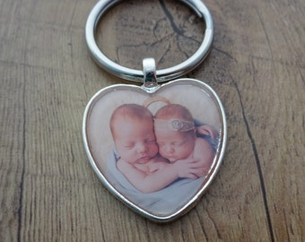Heart Photo Keychain - Gift for Mom - Gift for Her - Photo Pendant