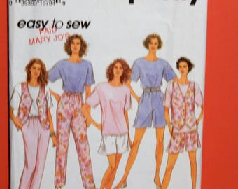 Easy to sew casual wardrobe pattern Simplicity 8297 Pants or shorts, top and lined vest pattern Uncut Sizes petite, small and medium