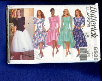 Butterick 6536 Fitted Princess Seam Party Dress with High Low Hem Size 18