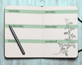 Week at a glance bujo Inserts bujo pages week on two pages bujo printable journal refill template bullet journal pages weekly schedule