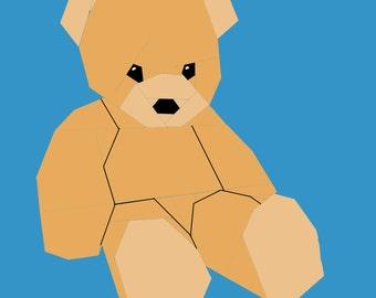 Teddy Bear paper-piecing quilt pattern, PDF