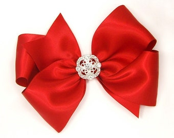 """Special Occasion Hair Bow, Rhinestone Center, Sparkly Holiday Bow for Prom, 6 Inch Red Satin Hair Bow, Women, Girls, 6"""" Satin Bow with Bling"""