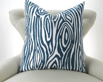Wood Grain Pillow Cover -MANY SIZES- Faux Bois navy blue white Willow decorative throw euro sham cushion modern contemporary premier prints