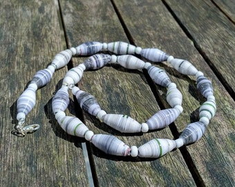 Handmade necklace with grey - white recycled paper and white glass beads