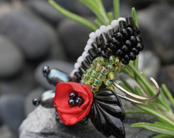 Felted and Beaded Couture Statement Ring, Crimson Poppy | Eco Fashion In Harmony With Nature