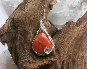 Carnelian Pendant Necklace Wrapped with Woven Sterling on Sterling Chain - Handmade in the USA