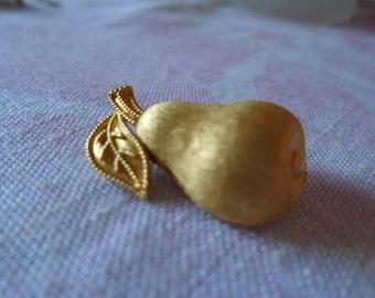 Vintage Trifari Brushed Goldtone Pear Brooche, Vintage Pin, Signed Trifari, Vintage Costume Jewelry,