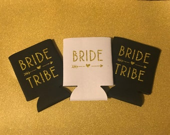Bride Tribe - Wedding Party - Bridesmaid gifts - Can Cooler - Custom - Personalized