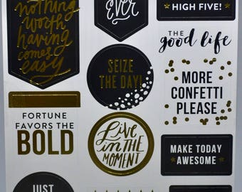 Gold Seize the Day Planner Stickers