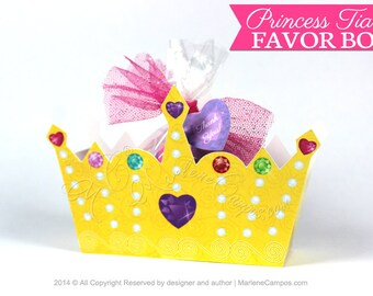Princess Tiara Favor Box, Princess Crown, Yellow Crown, treat box, Printable box, party favor, birthday favor, printable favor