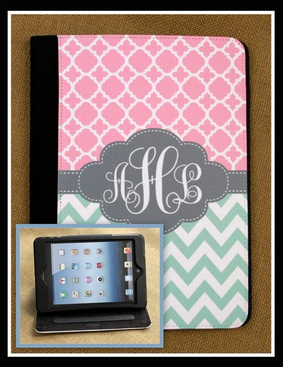 iPad Air iPad 2 iPad 3 iPad Mini Masker Folio Case Cover Monogrammed Personalized Custom Adjustable Angle View Stand Notebook Case