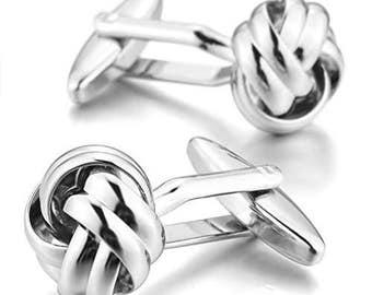 Knox Silver metal Cufflink for Shirt Unisex Men