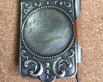 Silver Plated French Dance Card / Aide Memoire Art Nouveau c1900