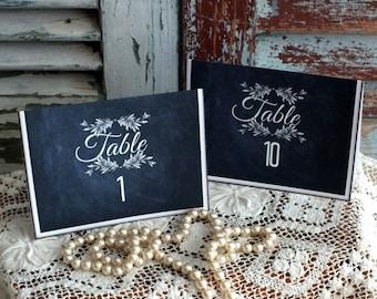 Vintage Blackboard Chalkboard Wedding Table Number Cards Handmade by avintageobsession on etsy