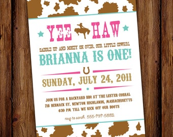 Cowgirl Birthday Invitation - Hoedown - Yee Haw - Rodeo Cowgirl - Printable or Printed Invitations