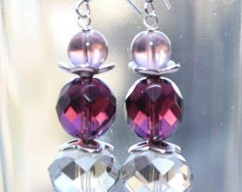 Purple gradient Glass beads Earrings  Beaded Earrings Czech Glass beads Womens Jewelry Gift for Her Shades of Purple