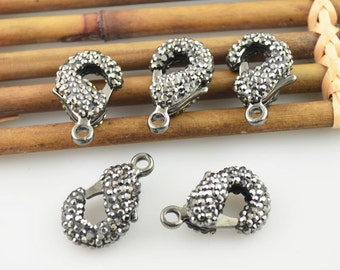 Fashion New 10Pcs Crystal Rhinestone Paved Lobster Connectors Clasps For Bracelet Necklace Finding