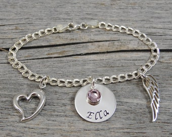 Hand Stamped Jewelry - Personalized Jewelry - Remembrance Bracelet - Sterling Silver Charm Bracelet - Heart Charm - Angel Wing Charm - Name