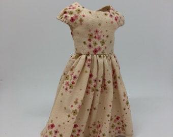 Blythe spring Dress beige flowers tilda cap sleeves