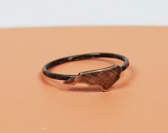Tiny NC Ring in blackened brushed silver
