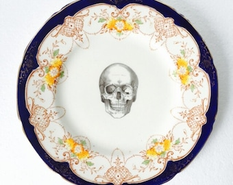 Skull Cake Dinner Plate Blue Orange Brown Flowers Pattern White Vintage China Made in England Wedding Anniversary Gift Wall Art Collage